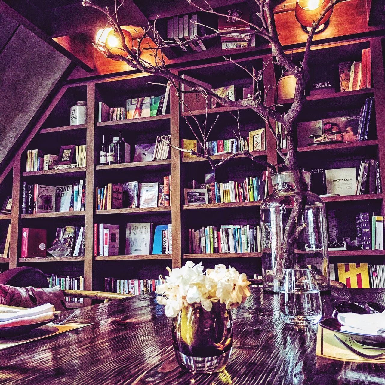 bookshelf, shelf, book, indoors, library, no people, illuminated, day