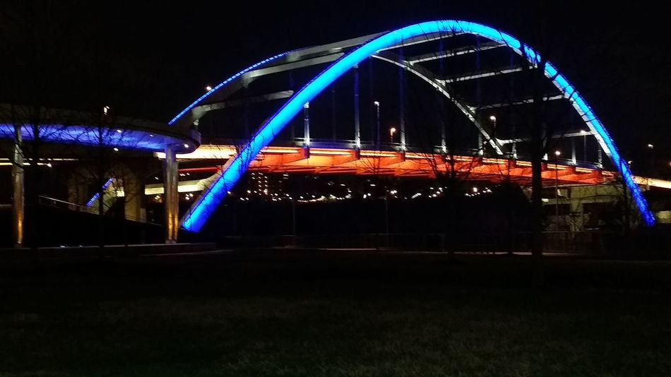 Travel Destinations Night Light Trail Long Exposure Illuminated City No People Outdoors Cityscape Nightlife Popular Music Concert Sky bridge nashville pedestrian bridge pretty lights