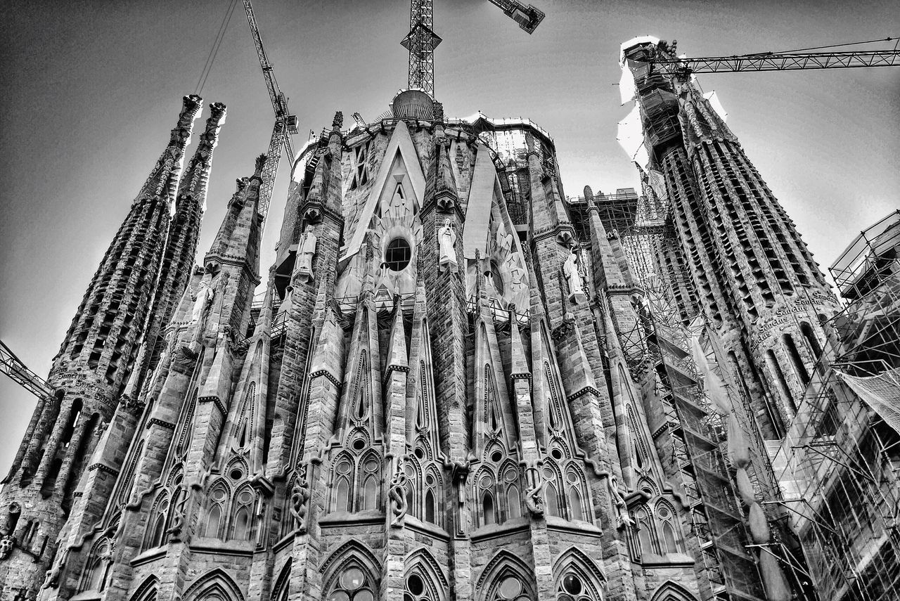 Low Angle View Of Sagrada Familia Against Sky
