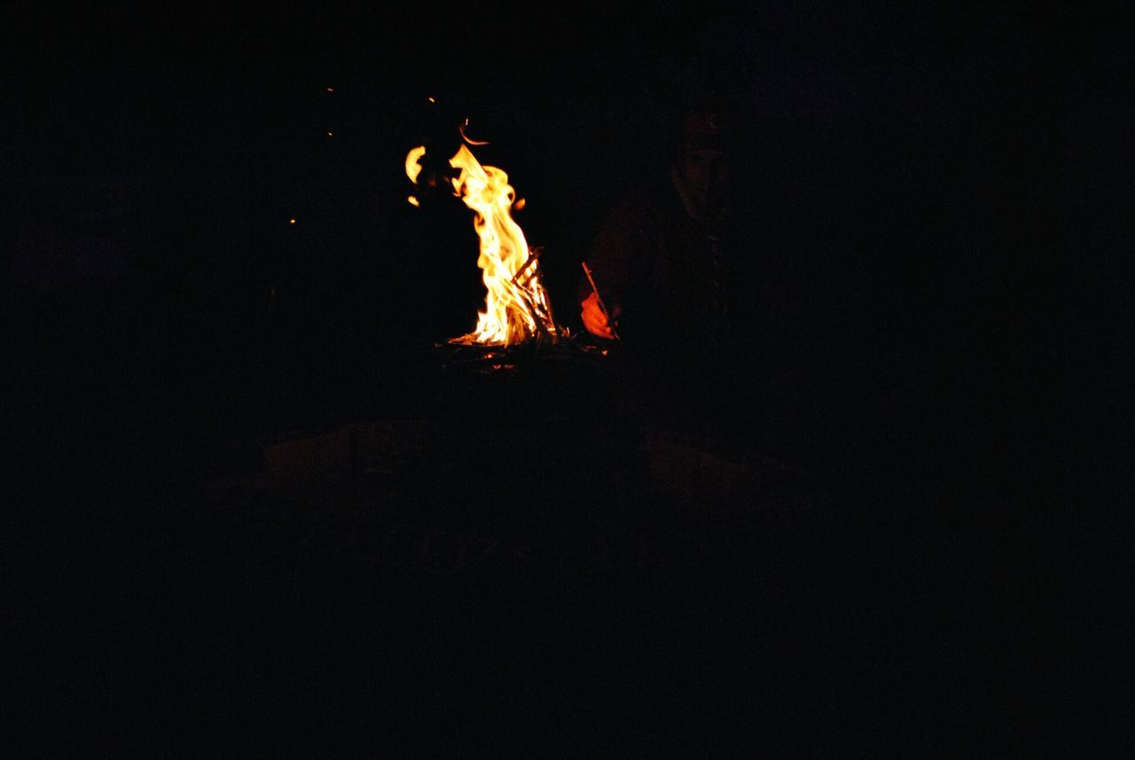 night, burning, flame, bonfire, campfire, heat - temperature, copy space, dark, no people, illuminated, outdoors, clear sky, close-up