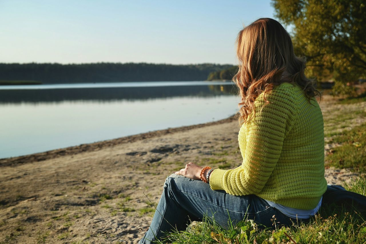 Lake Only Women One Woman Only Water Sitting Nature Women One Person Rear View Tranquility People Relaxation Beauty In Nature Scenics Outdoors One Young Woman Only Landscape Day Olsztyn Polska Poland Jezioro Warmia Mazury Sunset The Great Outdoors - 2017 EyeEm Awards Live For The Story