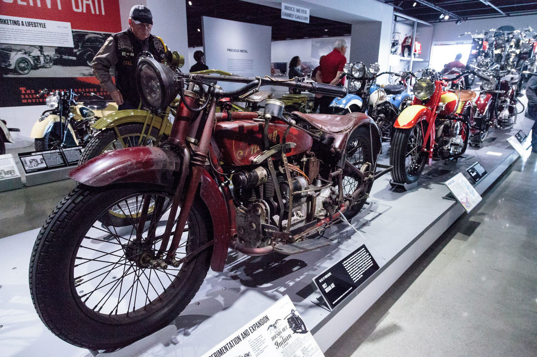 Los Angeles, CA, USA - March 4, 2017: Red 1927 Indian Ace motorcycle at the Petersen Automotive Museum in Los Angeles, California, United States. Editorial only. 1927 Antique Bike Classic Indian Indian Ace Motorcycle Old Petersen Automotive Museum Red Motorcycle Transportation Vehicle Vintage