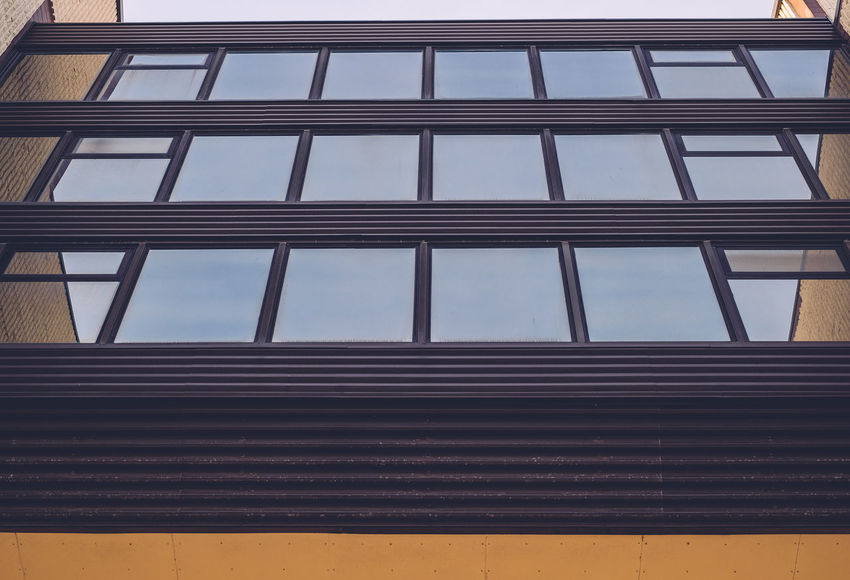 Building Building Exterior Looking Up Low Perspective Reflection Sky Symetrical Windows