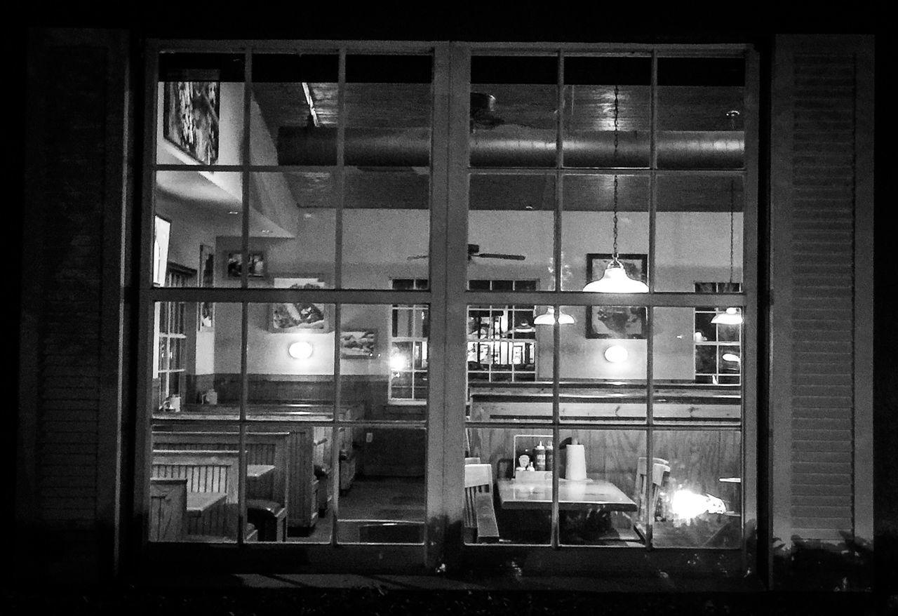 Black And White Shutters Night Time Closing Time Portrait Through The Window On The Outside Check This Out