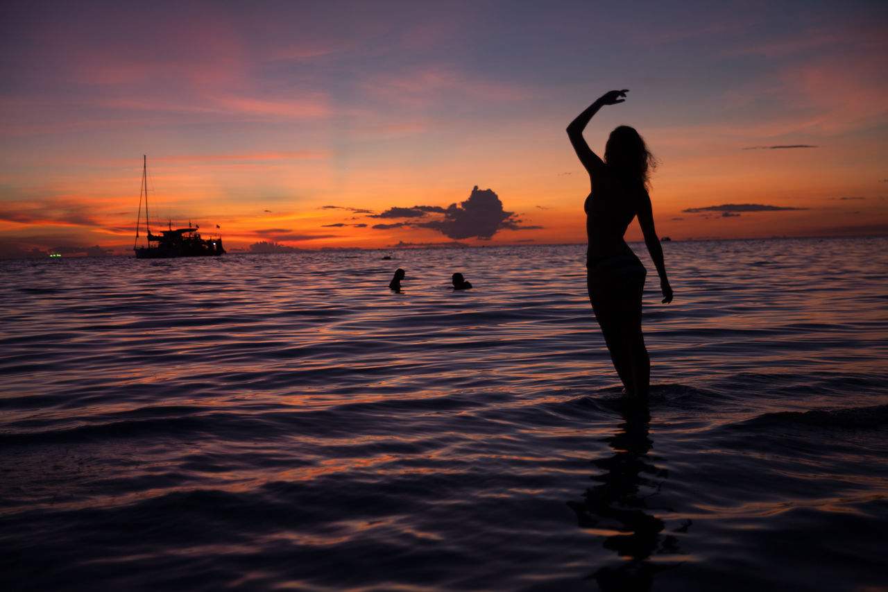 Beautiful stock photos of ocean, Arms Raised, Beach, Beauty In Nature, Cloud
