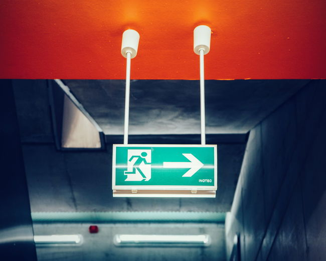 Communication Illuminated Information Sign Symbol Modern Built Structure Architecture Low Angle View Exit Sign Exit Exit Plan Exit