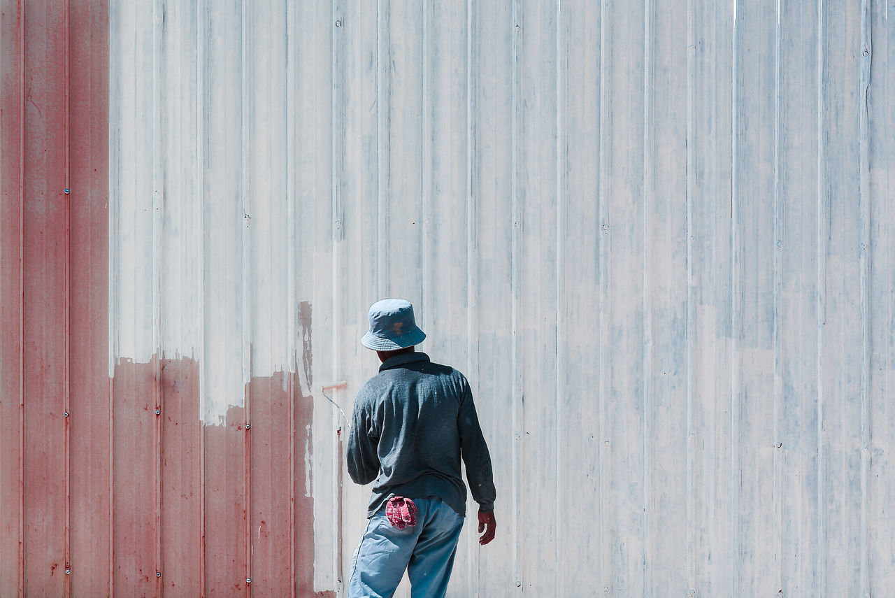 Corrugated Iron Day Work Labourer One Person Outdoors Painting Rear View Warm Clothing Working Hard Adapted To The City The Week On EyeEm Fresh On Market 2017