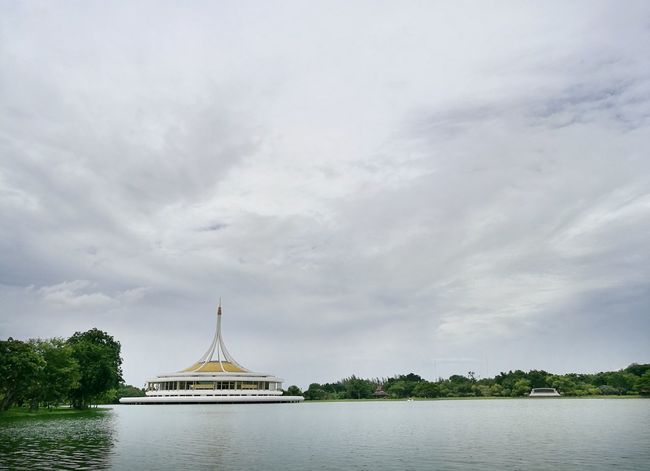 Happy holiday at Suan Luang Rama 9. Cloud - Sky Architecture Travel Destinations Water Day Travel Nature Sky Tree Outdoors Scenics Nautical Vessel Built Structure Lake No People Cityscape Bangkok Thailand
