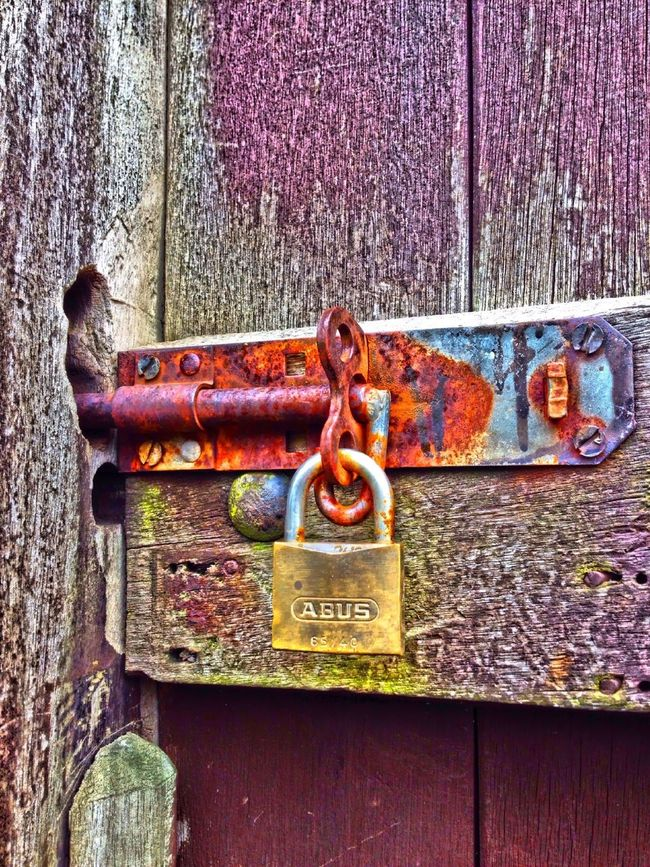 Locked gate Secure Security Locked Fastening Fasten Door Wooden Wood Gate Lock