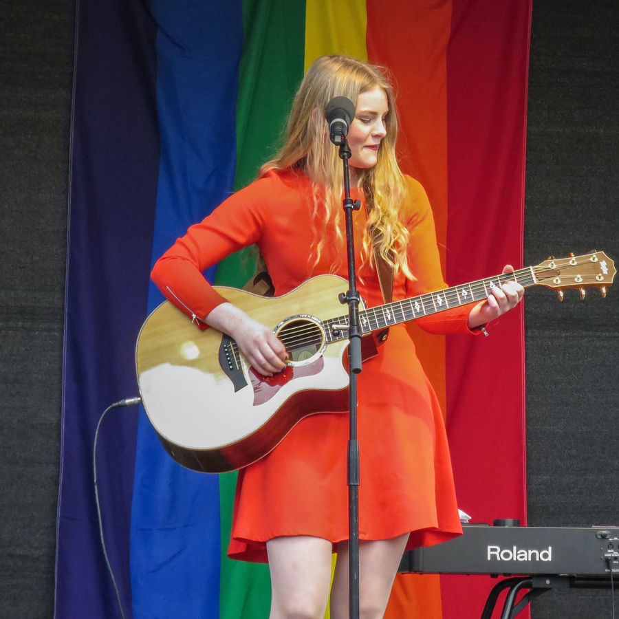 """Opening Pride Festival Qom Ut Fanny Hugosson singer/songwriter, performing the official festival song: """"Let The Whole World Know"""" ☺"""