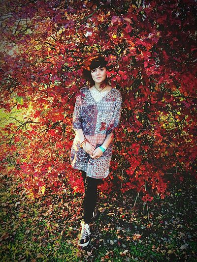 Autumn One Person Leaf Young Women Tree Looking At Camera Portrait Nature Forest Adult Full Length Standing Leisure Activity
