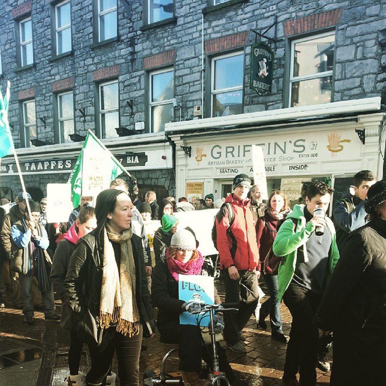 Water charges protest in Galway today. Watercharges Irishwater Galway