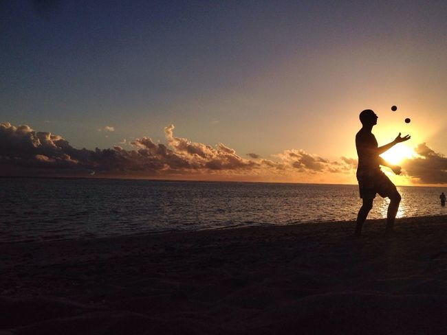 Enjoying The Sun Sunset Silhouettes Reunion Island