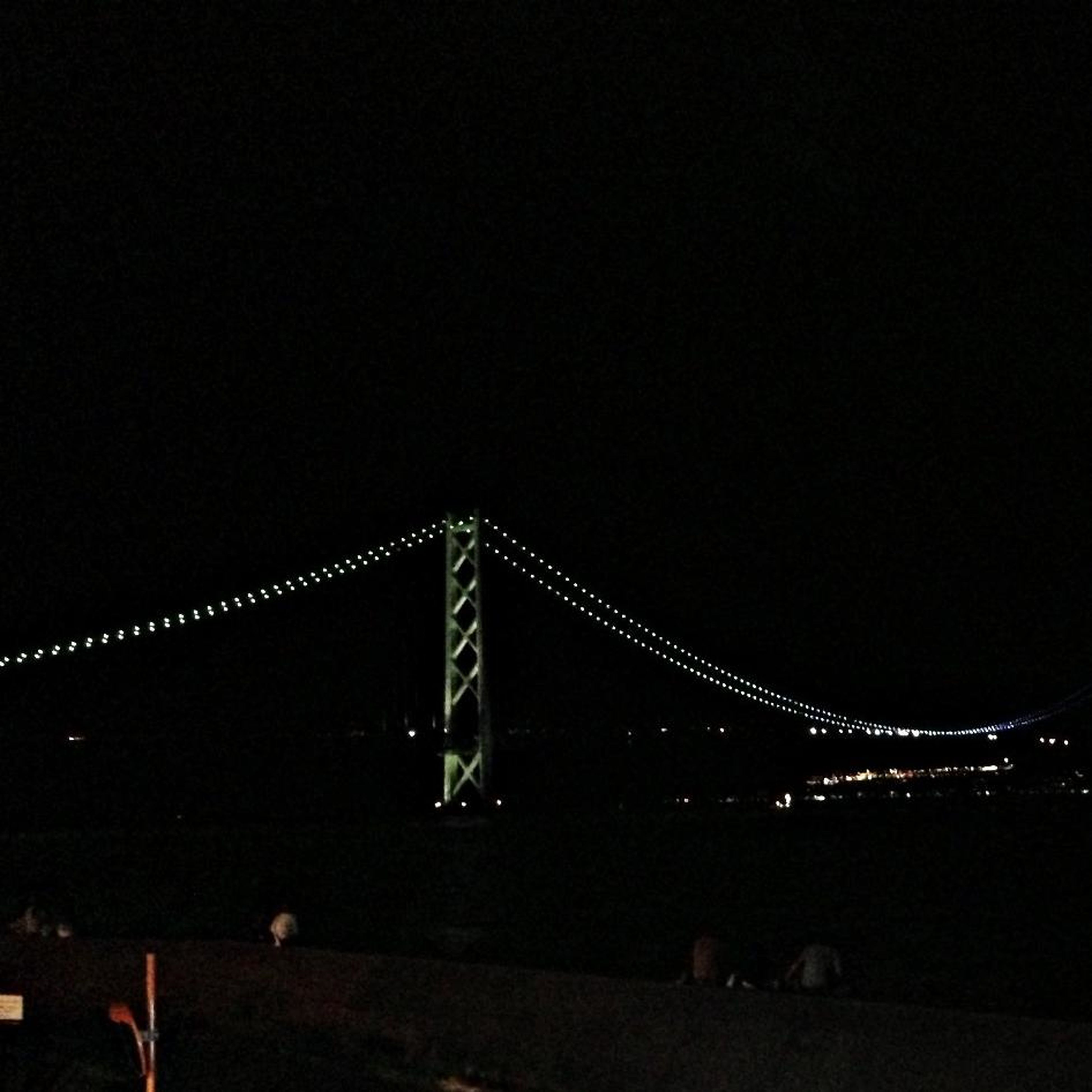 night, illuminated, copy space, clear sky, connection, bridge - man made structure, built structure, architecture, engineering, suspension bridge, metal, dark, outdoors, transportation, sky, dusk, low angle view, bridge, no people, travel destinations