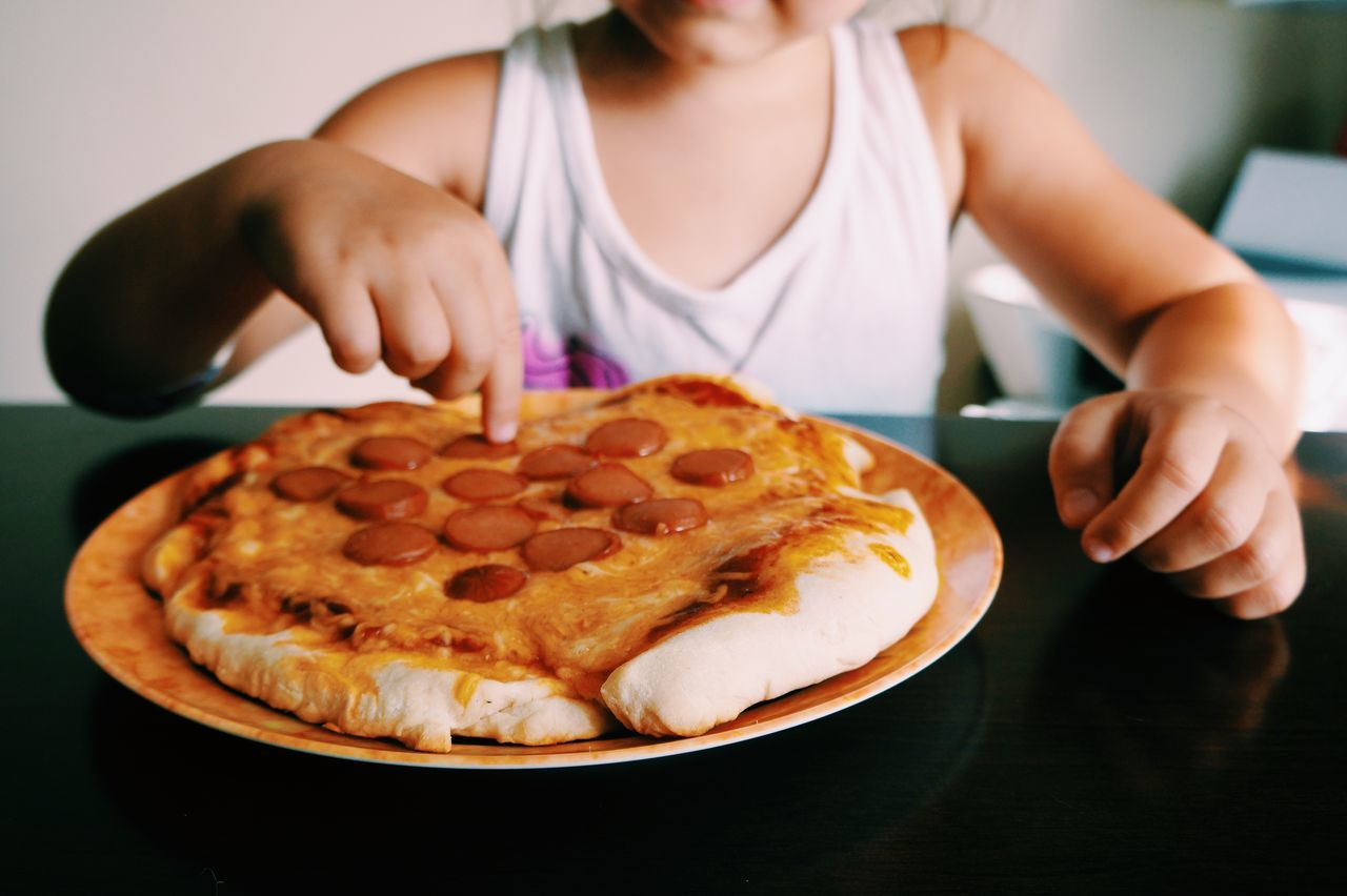Pizza Happy Children Kids Fun Eating Homemade Food Fingers Hand