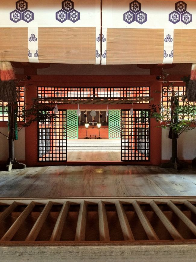 Place Of Worship House On Water Shrine Japan Architecture Entrance Red Green Square Itsukushima Shrine