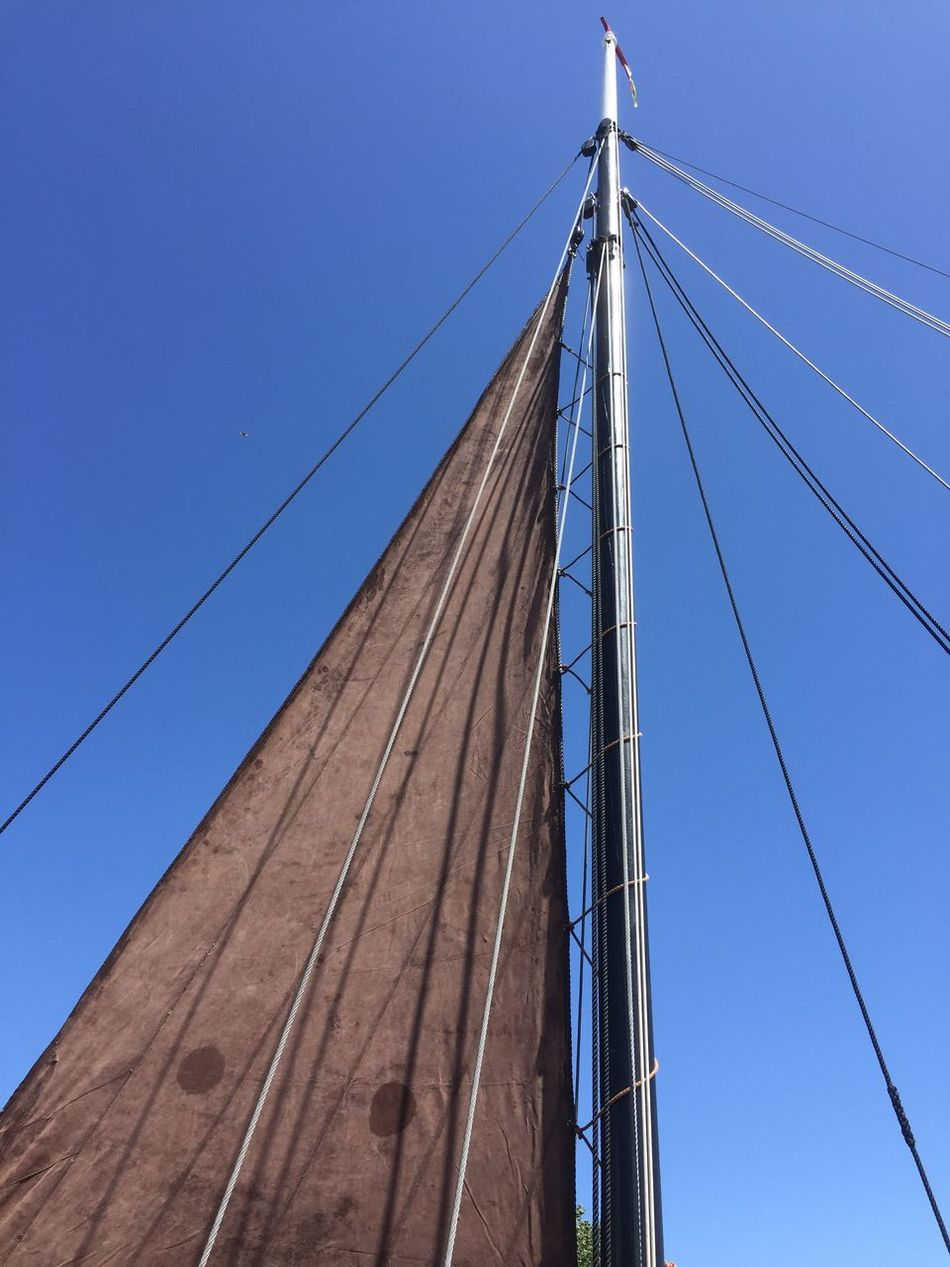 Sailboat Cable Connection Blue Low Angle View Clear Sky Power Line  Rope No People Transportation Day Outdoors Sky Mast LINE Sailing Ship Sailboat Brown Wood - Material Transportation Moored Boat Sea Nautical Vessel Zeesenboot Rope