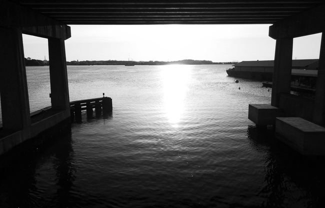 Trout River Pier Empty Pier Under The Pier Water Reflections Black And White Photography Playing With The Light Playing With The Shadows Sunrise Golden Hour