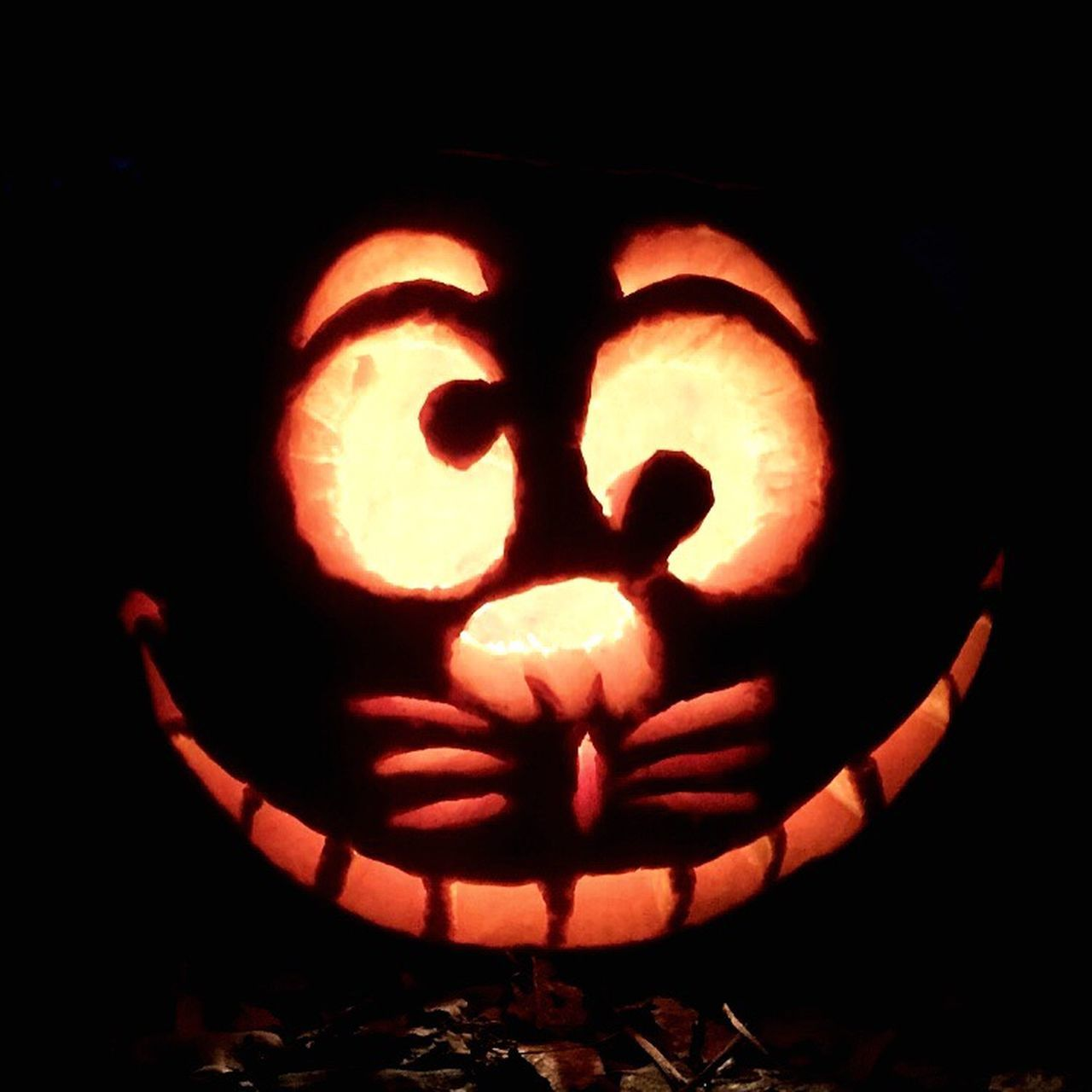 🎃 Cheshire Cat 🎃 Halloween Pumpkin Night Holiday - Event Jack O' Lantern Illuminated Smiling Outdoors Black Background Celebration IPhoneography Friends Aliceinwonderland Cat Cheshire Cat Shadows Light