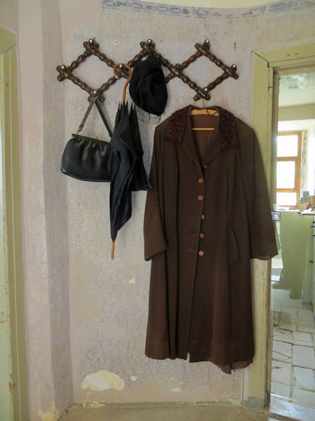 Entrance Old Fashioned Old Lady Bag Clothing Coat Coathanger Day Fräulein Hanging Indoors  No People Old Fashioned Building Old Woman Umbrella
