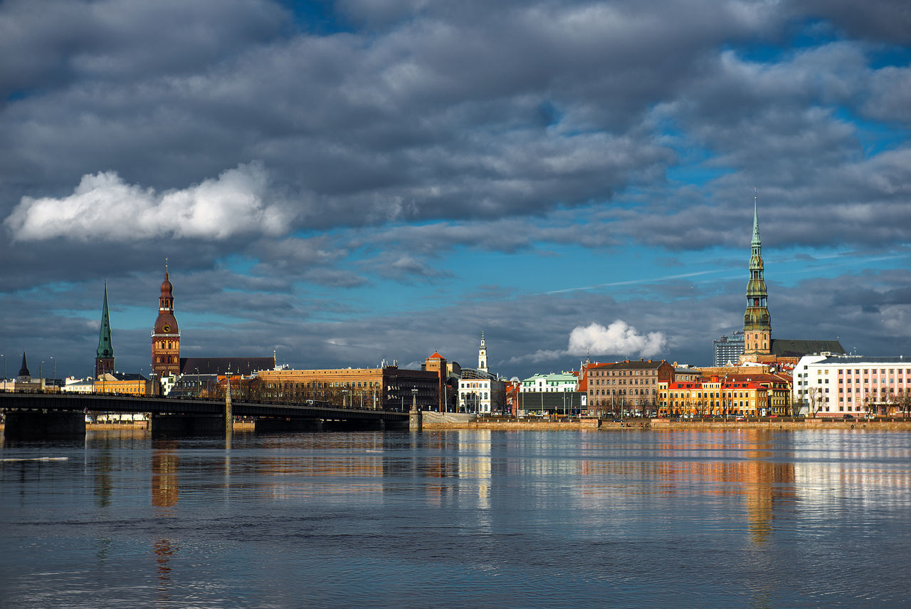 Architecture Bridge - Man Made Structure Building Exterior Built Structure City City Cityscape Cityscape Cloud - Sky EyeEm Nature Lover Government No People Outdoors Panorama Panoramic Reflection Riga Riga Latvia River River Daugava Sky Tower Travel Destinations Urban Skyline Water