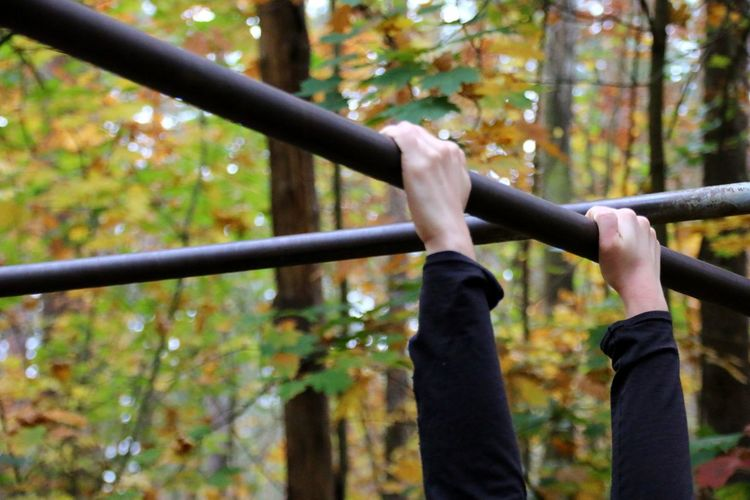 Womans Hands Exercises  Pull Ups Trim Path Climbing Leisure Activity Lifestyles Tree Forest Nature Autumn Outdoors Day Be. Ready. One Step Forward