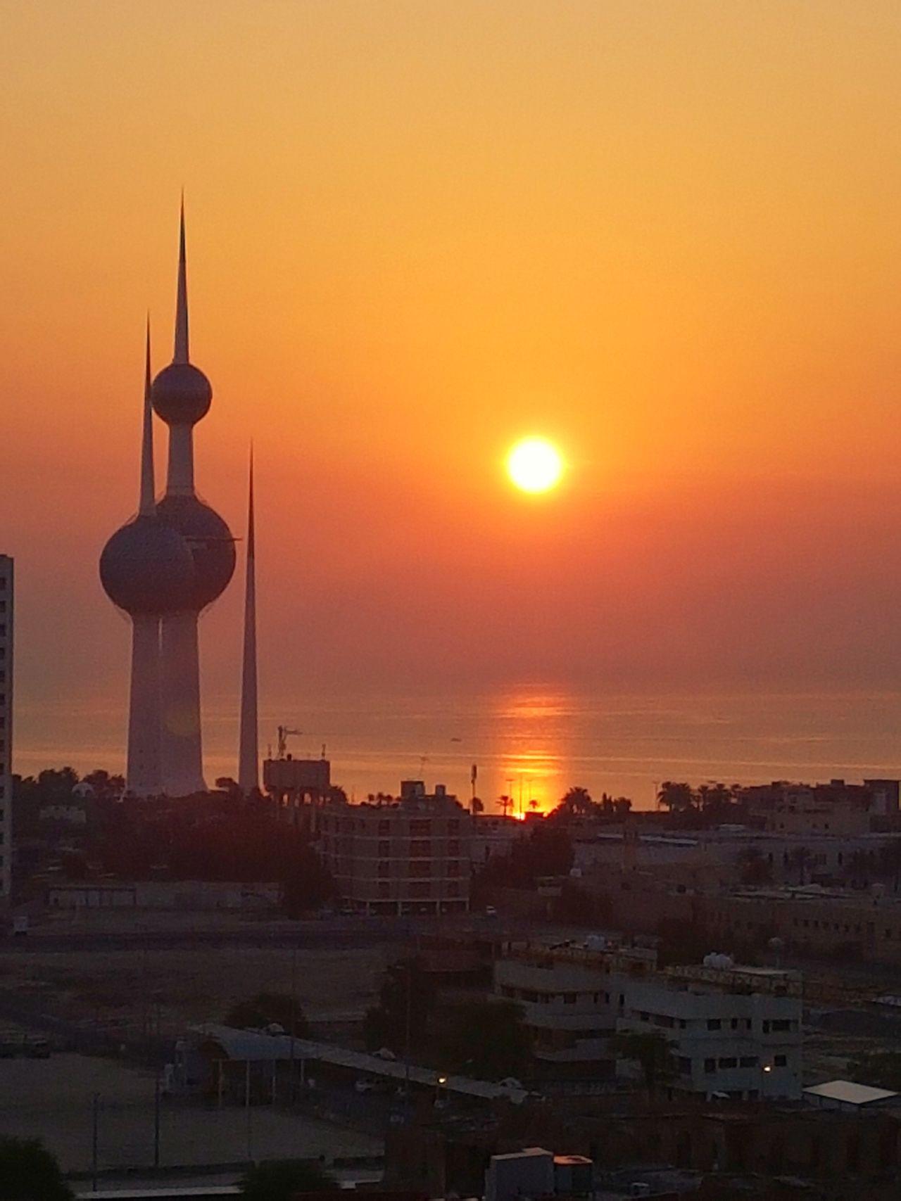 Kuwait Silhouette Sky Scenics Architecture Kuwait Towers Kuwait Sunrise Colors Sunrise_sunsets_aroundworld Sunrise