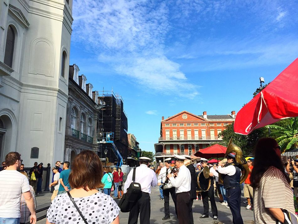 Large Group Of People Building Exterior Real People Sky Architecture City Women Men Built Structure Leisure Activity Outdoors People Day Adult St. Louis Cathedral Jackson Square Music Second Line
