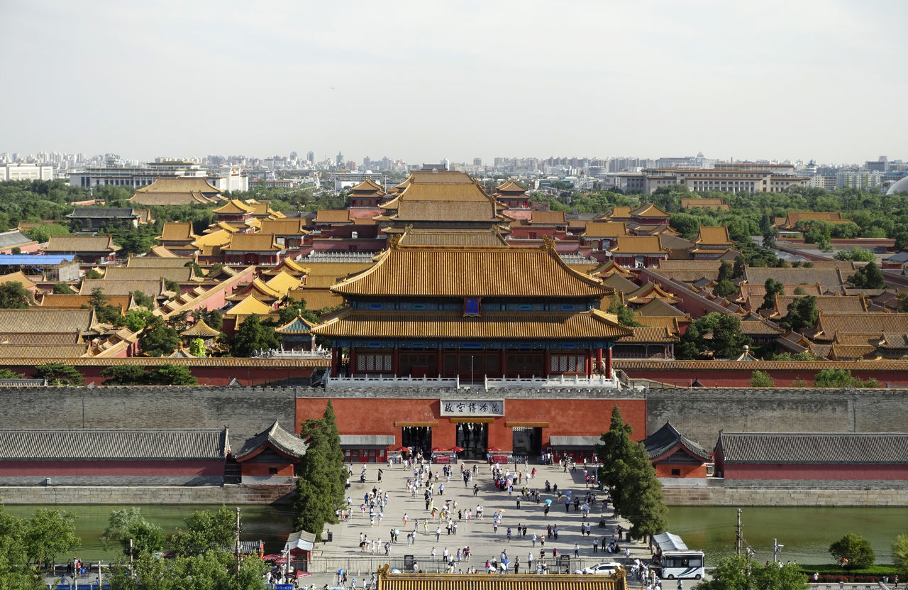 Forbidden City from Jingshan Architecture Arial Shot Arial View Building Exterior Built Structure City Cityscape Coal Hill Day Forbidden City Jingshan Jingshan Imperial Park Large Group Of People Outdoors People Place Of Worship Real People Religion Roof Sky Spirituality Travel Destinations Tree