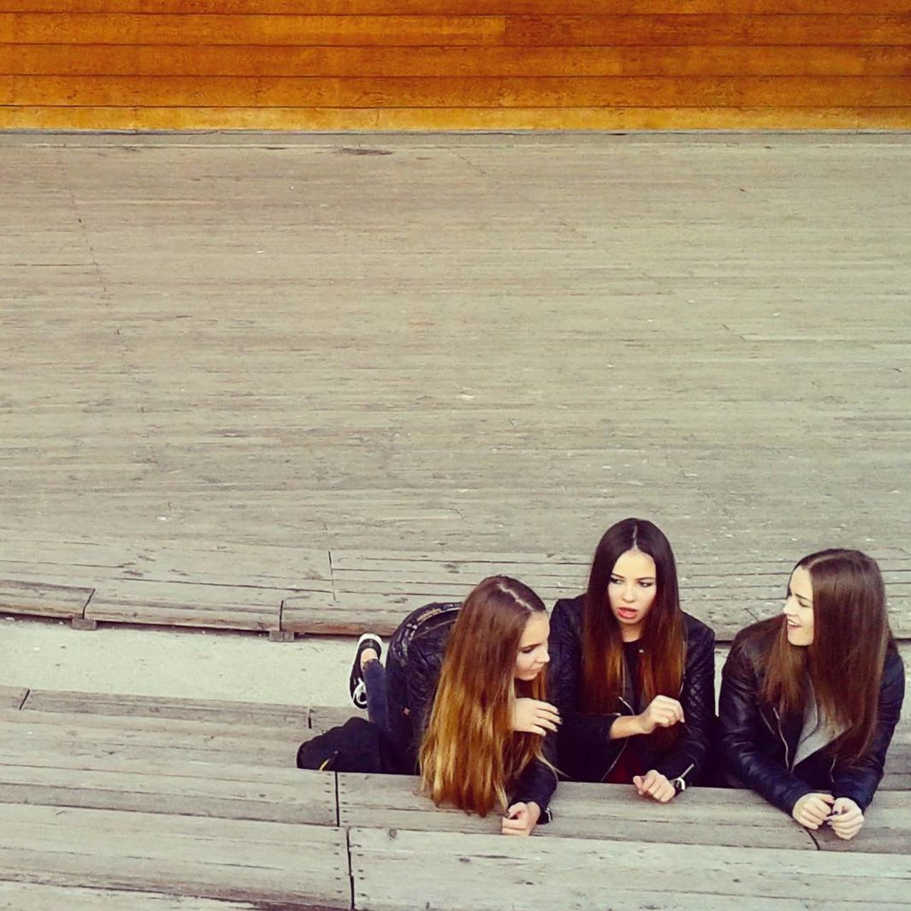Black Dress Friendship Lifestyles Long Hair Resting Three Girls Togetherness Young Women