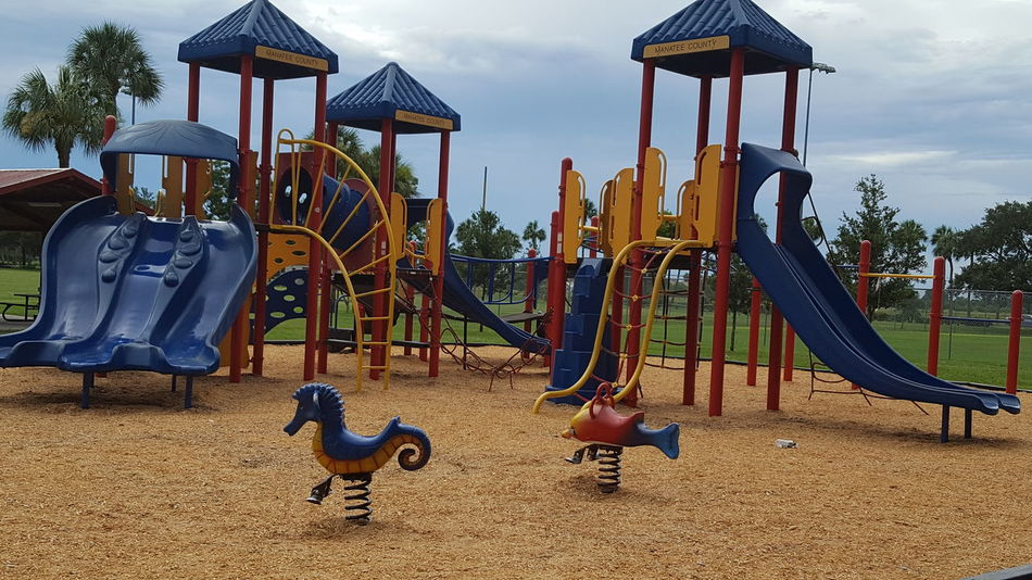 Kids park Kids Playground Empty Colorful Blackstone Park Palmetto Florida Afternoon So Hot Out Family Time