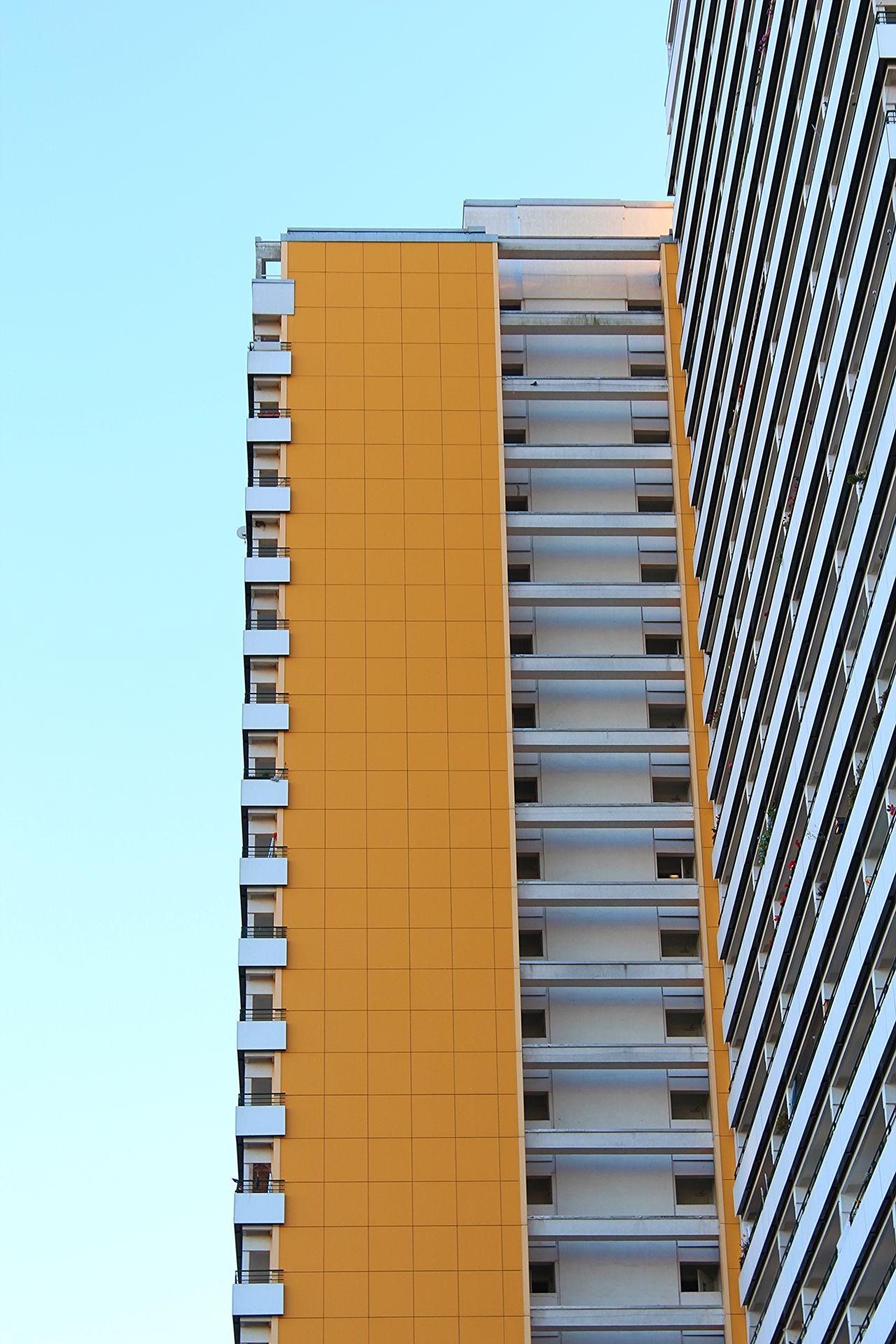 Architecture Berlin Blue Sky Blueandorange Blueskynocloud Buildingexterior Built Structure Clear Sky Complementary Colors ComplementaryContrast High Rise Building Marzahn No People Outdoors