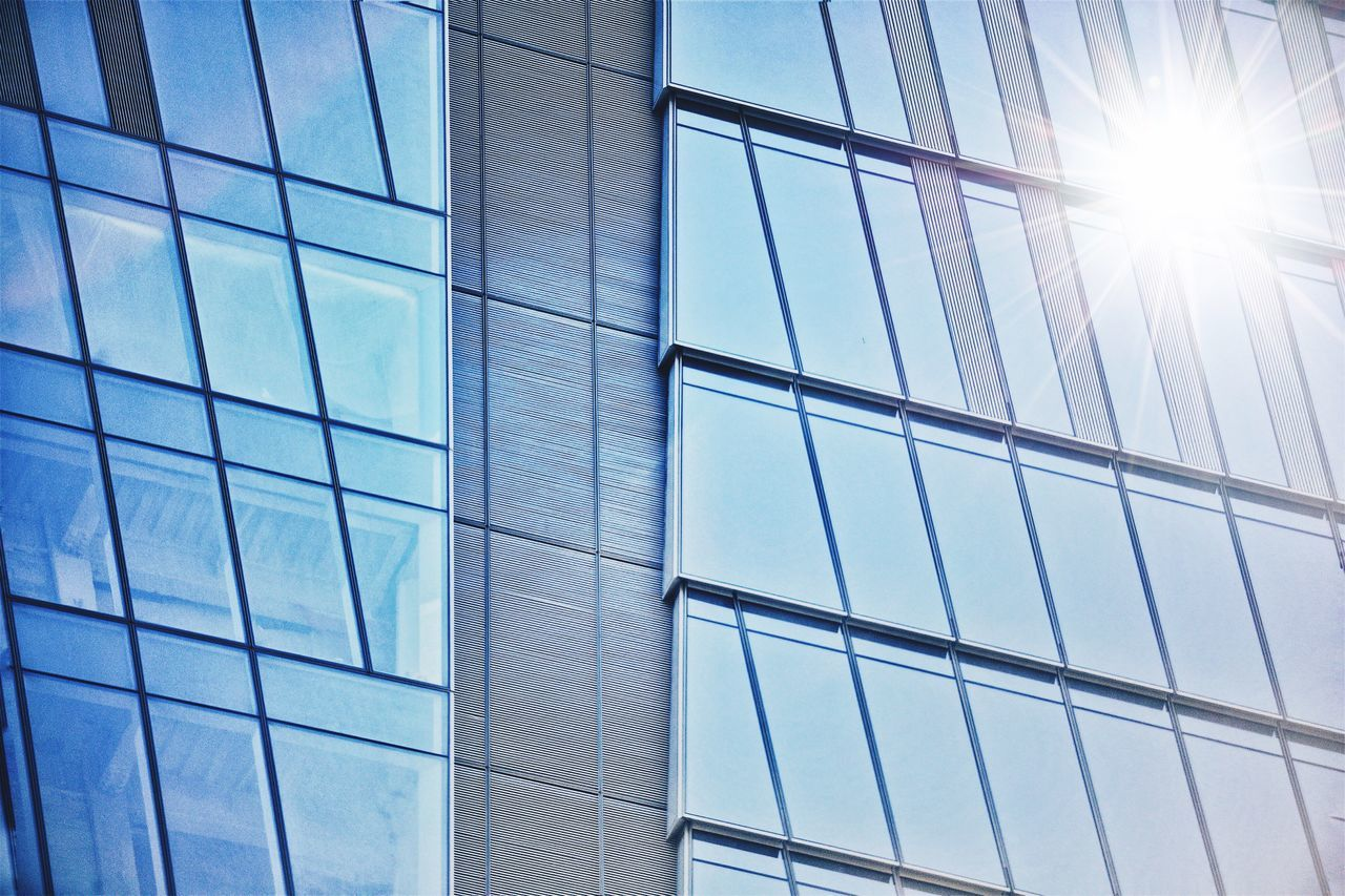 architecture, window, glass - material, building exterior, built structure, modern, reflection, low angle view, day, outdoors, sunlight, blue, no people, full frame, sky