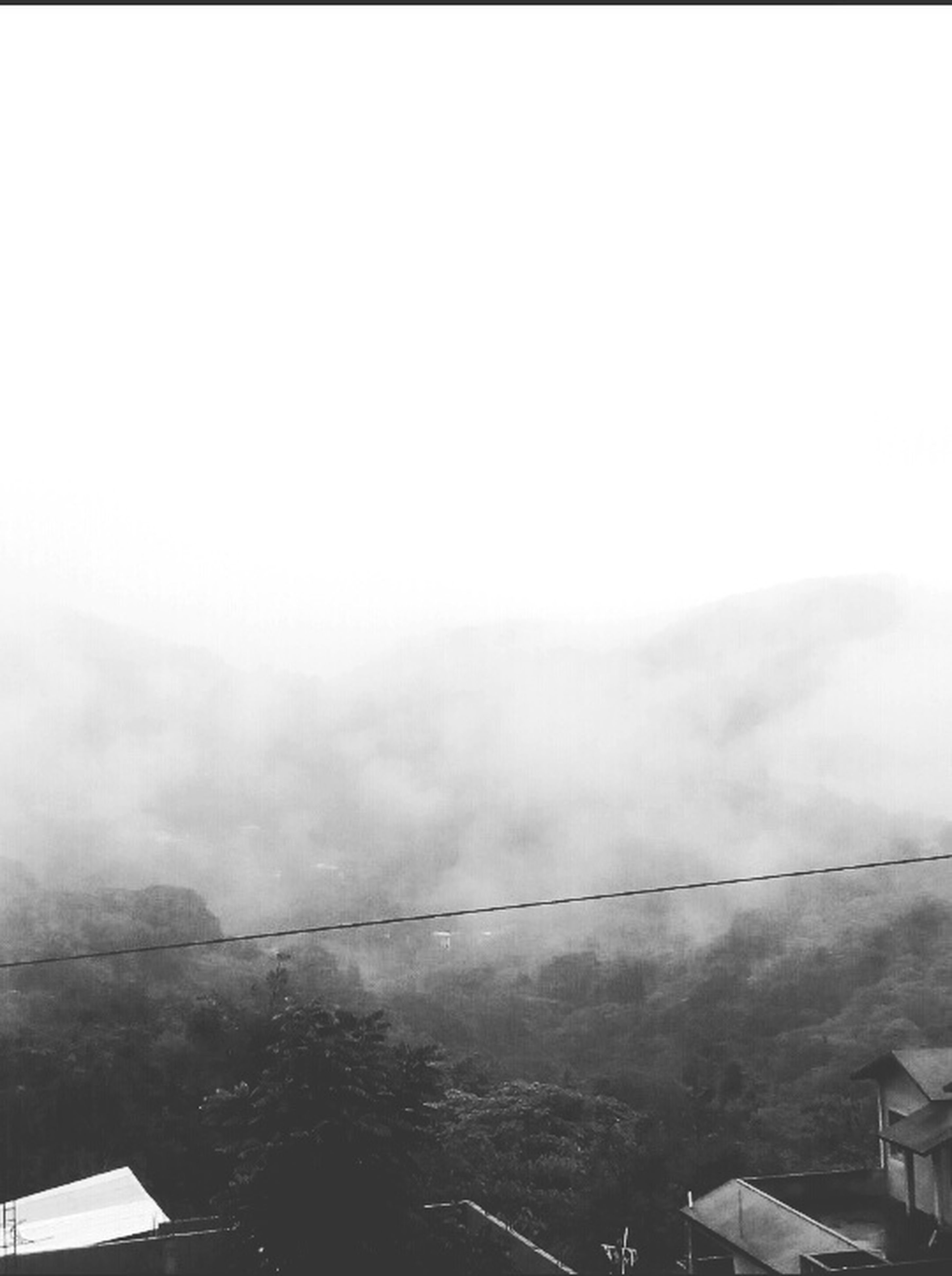fog, day, outdoors, nature, built structure, architecture, no people, sky, mountain, building exterior, scenics, beauty in nature, tree