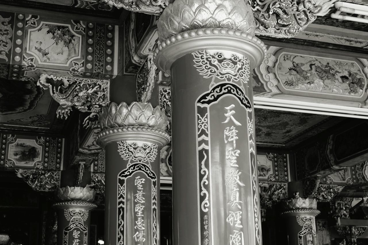 ornate, architecture, design, low angle view, built structure, history, no people, spirituality, architectural column, place of worship, day, indoors, building exterior, close-up