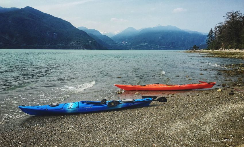 1st kayak outing on Howe Sound, BC Water Mountain Tranquil Scene Outdoors Beach Scenics Kayak First Eyeem Photo