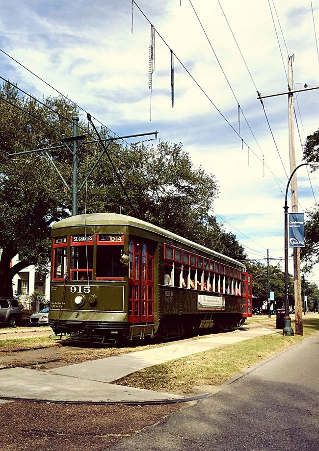 Transportation Road Street Motion Tree On The Move Cable Car Sky Public Transportation Public Transport New Orleans EyeEm City City Life New Orleans, LA Day Outdoors New Orleans Road St. Charles Avenue