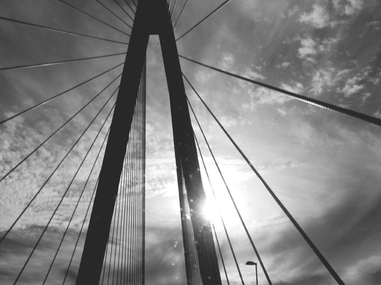 Low Angle View Of Suspension Bridge