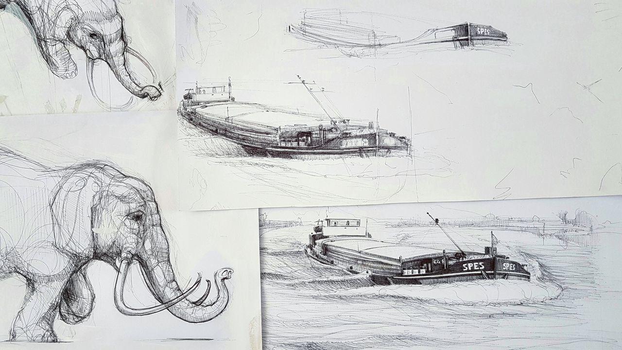 Oldsketches Bicpen Illustration Illustrations  Dutch Life Barge Rivers Elephants Sketching Paper Art Artworks Commission Work