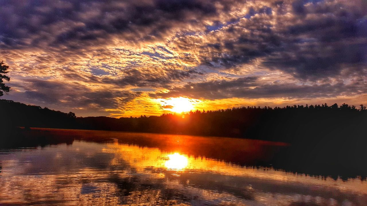 Sunset Reflection Nature Beauty In Nature Dramatic Sky Water Sky Orange Color Landscape Scenics Cloud - Sky Silhouette Sun Outdoors No People Extreme Weather EyeEm Best Shots - Landscape Good Morning! EyeEm Best Shots Beauty In Nature Tree Nature