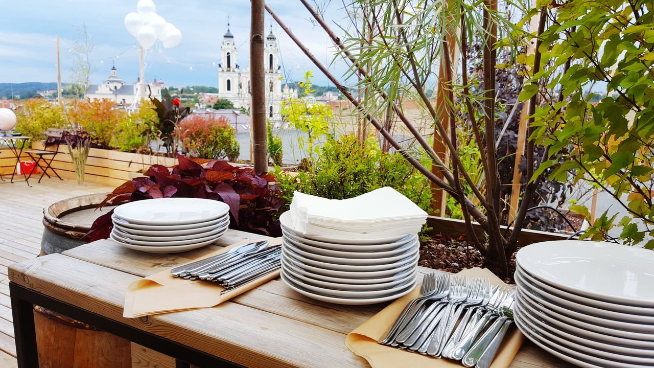 Summer Decor Tabledecoration Table Setting Composition Rooftop Rooftop View  Terrace Oldtown Vilnius Old Town Design Party Plates On A Table Fork & Knife Cloth My Year My View