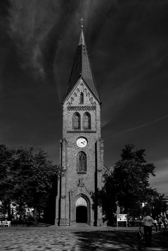 Church Sky Clock Tower Tower Bell Tower Outdoors Architecture Spirituality Religion Cloud Arch Fujifilm Fujilove Black & White Blackandwhite Lines&Design Building Exterior Façade Tree Entrance Doors Window