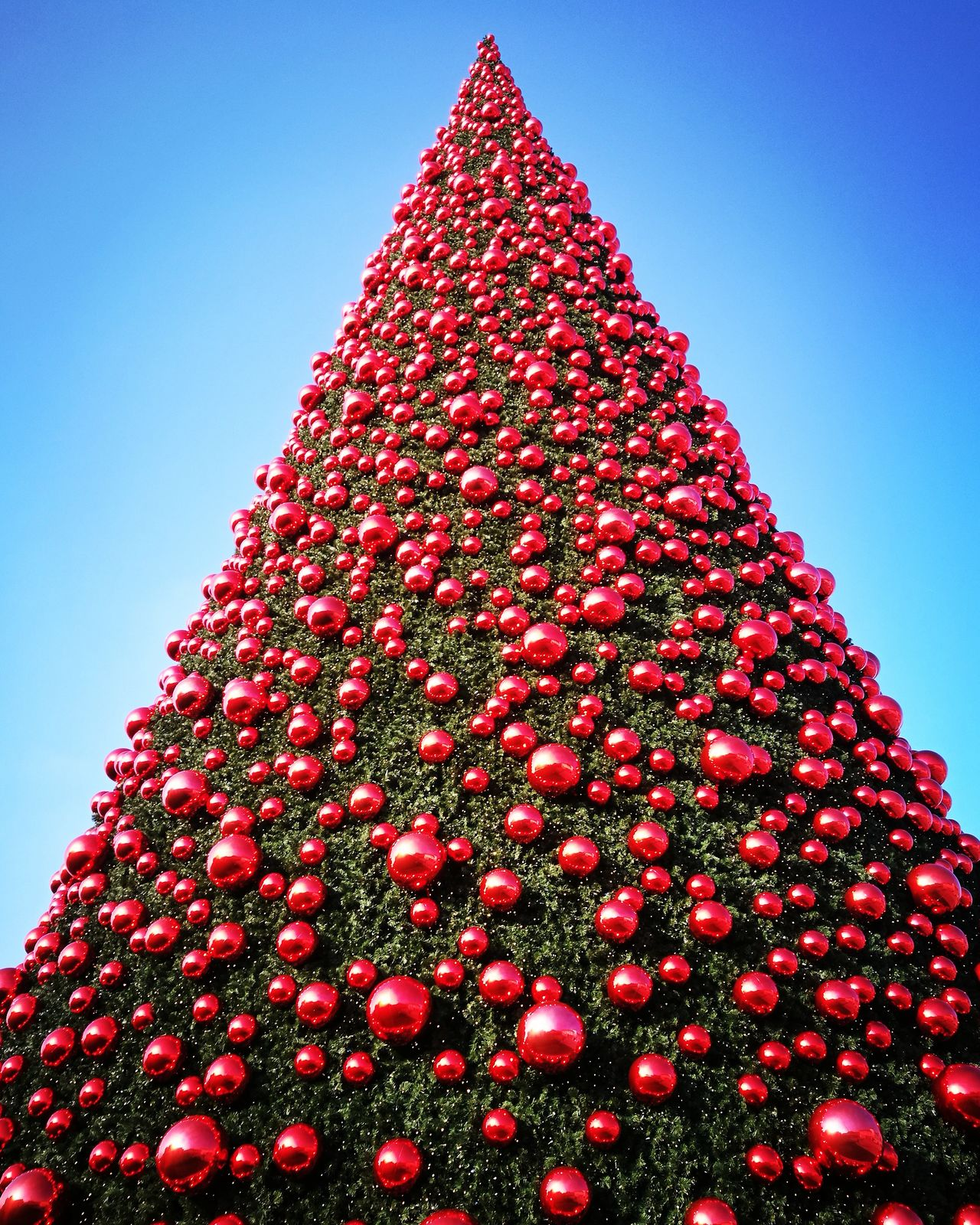 Red Christmas Celebration Sky Christmas Tree Christmas Decoration No People Low Angle View Tree Outdoors Christmas Ornament Day Ball Mcarthurglennoutlet Outlet Venice Prospectives Vivid Colors