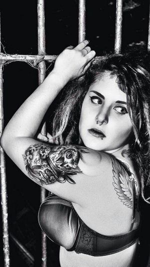 Portrait B&W Portrait Photoshoot Model Urban Decay Blackandwhite Hello World Lingerie Tattoo