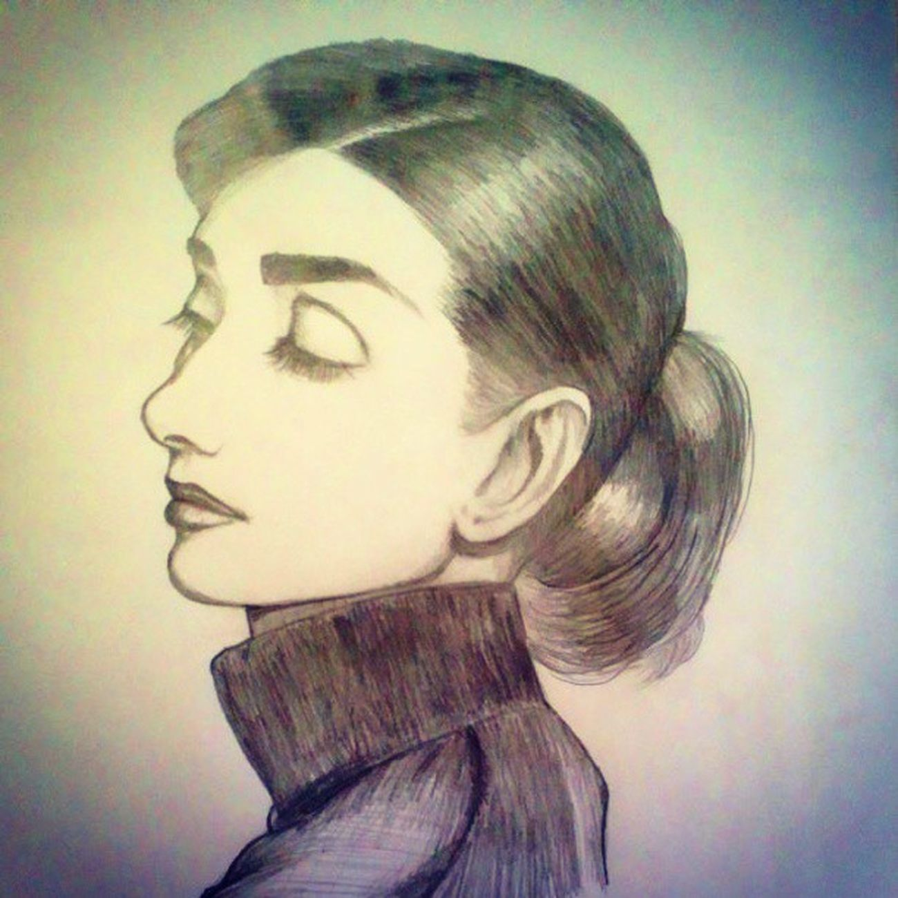 Audrey Hepburn by Sharp Pencil HB 0.5mm. Art MOVIE Cinema Illustration Actress Audreyhepburn Pencilillustration