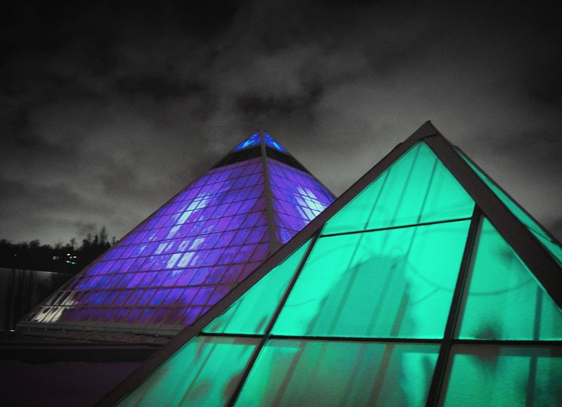 Architecture Building Exterior Built Structure Cloud - Sky Colours Day Glow Glowing Glowing In The Dark Lifestyles Lights Low Angle View Multi Colored No People Outdoors Pyramid Shelter Sky Storm Cloud Tent Weather