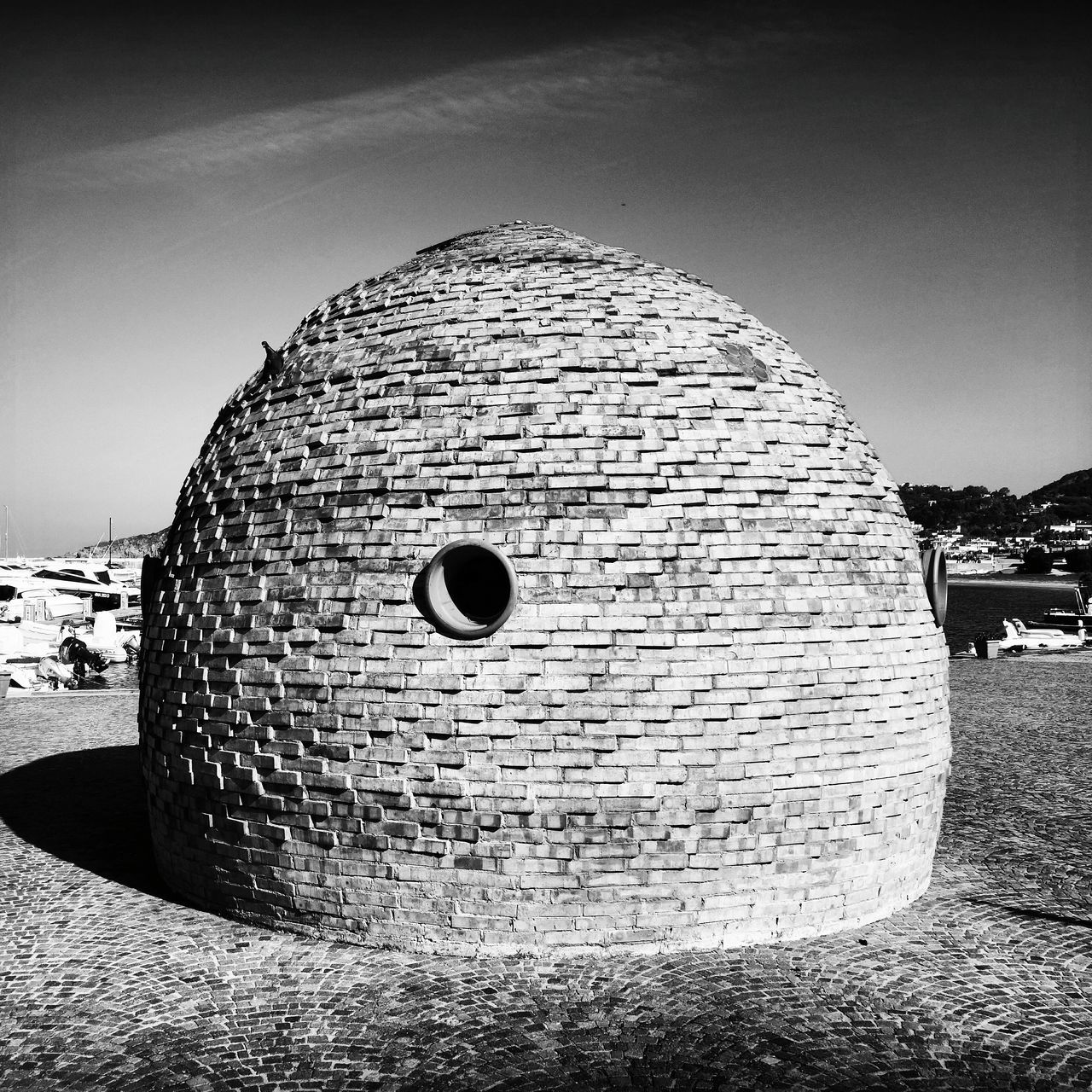 Small Spherical House At Harbor