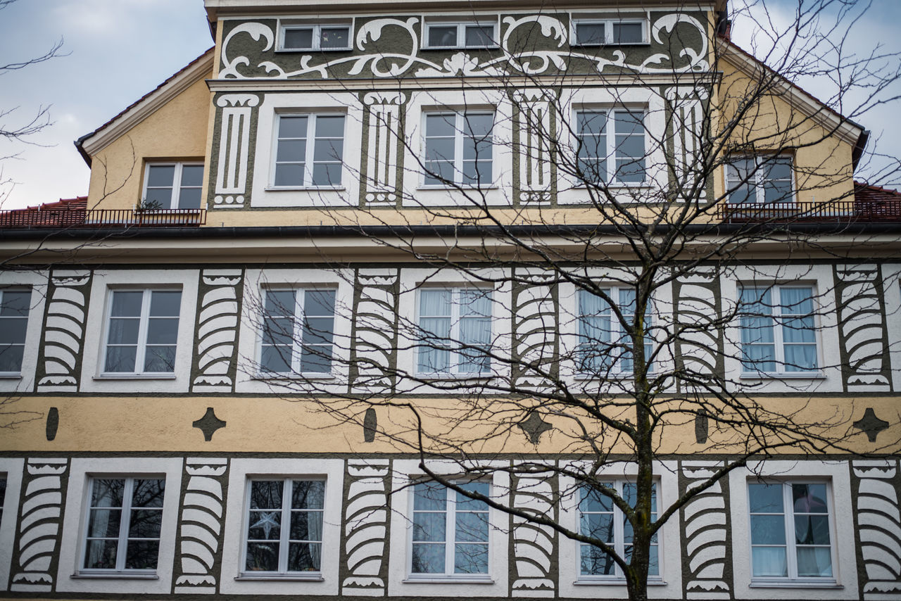 building exterior, architecture, window, built structure, house, residential building, no people, bare tree, day, outdoors, low angle view, sky, tree, close-up, city