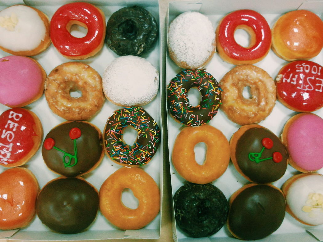 Sweet Food Variation Directly Above Food Multi Colored Large Group Of Objects No People Indoors  Dessert Close-up Donut Day Freshness Ready-to-eat Choice Arrangement KrispyKreme Doughnuts Doughnut Doughnuts♥ Visual Feast