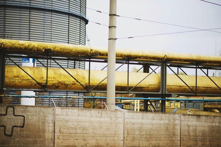 @stuttgart Gaskessel💨 Urban 4 Filter Architecture Light And Shadow Streetphotography Stuttgart Yellow Pipeline Gasoline Urban Decay